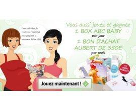 ABC BABY: 2 box à gagner par jour et un bon d'achat Aubert de 350€ à gagner par mois
