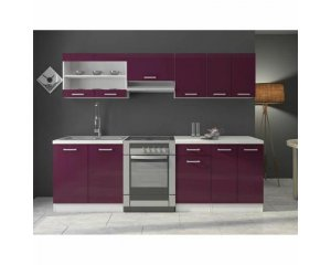 cuisine compl te jasny 240 cm laqu e aubergine 199 cdiscount. Black Bedroom Furniture Sets. Home Design Ideas