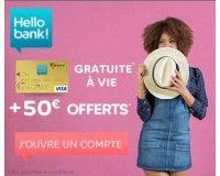Hello bank!: 50€ offerts pour l'ouverture d'un compte courant + carte VISA gratuite à vie