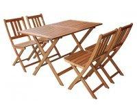 Conforama: Salon de jardin pliant table + 4 chaises en acacia massif à 149,46€