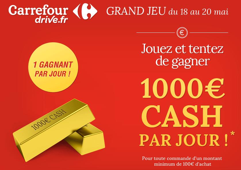 Code promo Carrefour Drive : Tentez de gagner 1000€ cash par jour