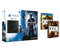Amazon: Pack PS4 1To + Uncharted 4: A Thief's End + Doom + Steelbook Doom à 399€