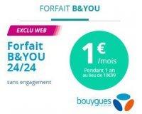 Bouygues Telecom: [Série limitée spéciale Client] Forfait B&You 24/24 à 1€/mois pendant 1 an