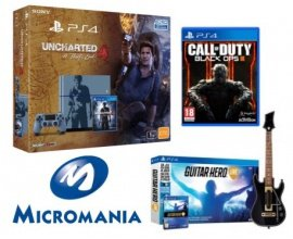 Micromania: Pack PS4 1To Uncharted 4 + Guitar Hero Live + CoD Black Ops III à 399,99€