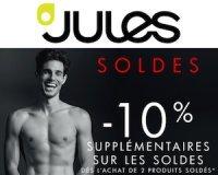 Jules: -10% supplémentaires cumulables sur les prix déjà soldés dès 3 produits soldés