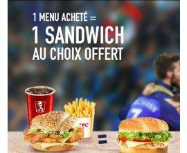 KFC: 1 Menu Acheté = 1 Sandwich au choix offert