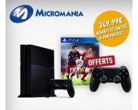 Micromania: Pack PS4 500 Go + 2ème manette + le jeu Fifa16 à 349,99€
