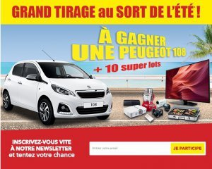 une voiture peugeot 108 10 super lots gagner atlas for men. Black Bedroom Furniture Sets. Home Design Ideas