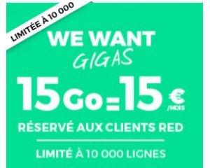 SFR: [Clients SFR] Forfait mobile illimité + internet 15 Go pour 15,99€ / mois