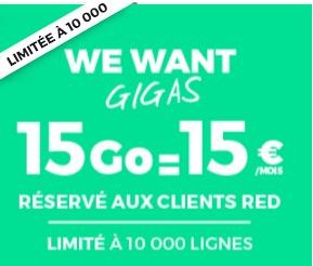 Code promo SFR : [Clients SFR] Forfait mobile illimité + internet 15 Go pour 15,99€ / mois