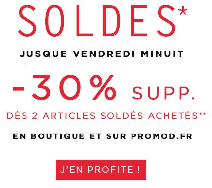 Code promo Promod : -30% supplémentaires dès 2 articles soldés achetés