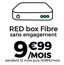 Code promo SFR : Abonnement Internet RED box Fibre à 9,99€ par mois pendant 1 an sans engagement