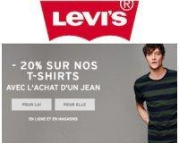 Levi's: 1 jean acheté = -20% sur une sélection de t-shirts femme et homme