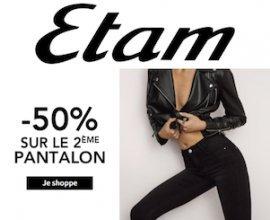 Etam: 50% de réduction sur le 2e pantalon