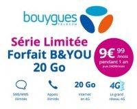 Bouygues Telecom: Forfait mobile appels, SMS, MMS illimités + 20Go d'Internet à 9,99€ / mois