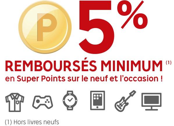 Code promo Rakuten : 5% de vos achats remboursés (minimum) en Rakuten Super Points grâce au Club R