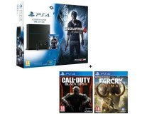 Cdiscount: PS4 1 To + 3 Jeux (Uncharted 4 + CoD Black Ops III + Far Cry Primal) à 399,99€