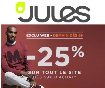 Code promo Jules : 25% de réduction sur tout le site dès 59€ d'achat