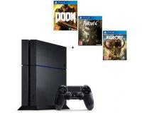 Cdiscount: PS4 500 Go + 3 Jeux : DOOM + Fallout 4 + Farcry Primal à 329,99€