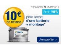 Norauto: 10€ offerts sur l'achat et le montage d'une batterie auto