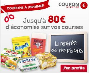 Code promo Coupon Network : Jusqu'à 80€ d'économies sur vos courses et marques préférées en magasin
