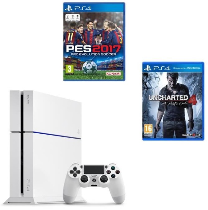 Code promo Cdiscount : Pack PS4 500 Go Blanche + 2 jeux (Uncharted 4 + PES 2017) à 299,99€