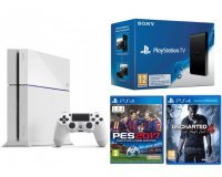 Micromania: Pack PS4 blanche 500Go + Uncharted 4 + PES 2017 + PS TV pour 299,99€