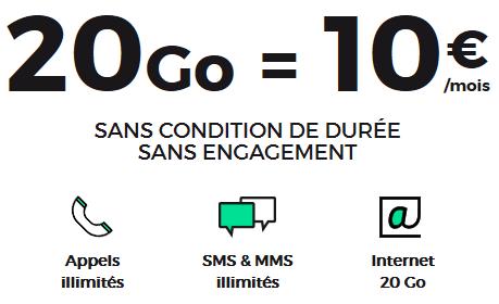 Code promo SFR : Forfait mobile tout illimité + 20Go d'Internet 4G à 10€/mois à vie