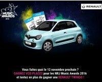 NRJ: 1 voiture Renault Twingo et des places pour les NRJ Music Awards à gagner