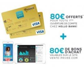 Vente Privée: 160€ offerts pour l'ouverture d'un compte bancaire en ligne chez Hello Bank