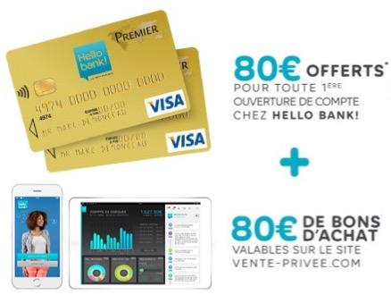 Code promo Veepee : 160€ offerts pour l'ouverture d'un compte bancaire en ligne chez Hello Bank