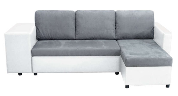 Canape D Angle Convertible 5 Places Costa Blanc Gris A 399 99