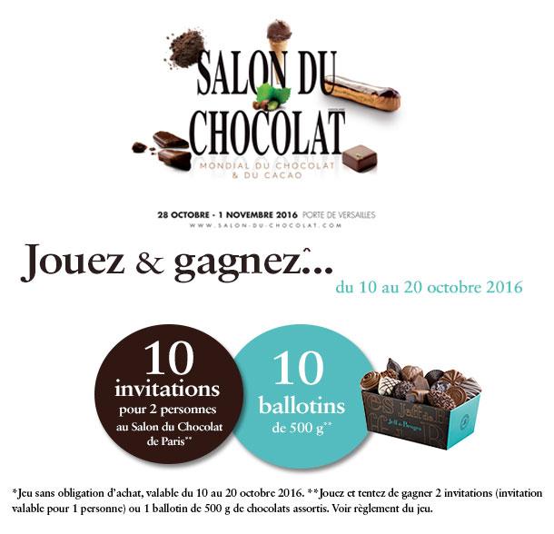 Code promo Jeff de Bruges : 10 x 2 invitations au Salon du Chocolat & 10 ballotins de chocolats à gagner