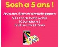 Sosh: 50 forfaits mobile d'un an, 50 Soshphone 3 & 50 survival kits à gagner