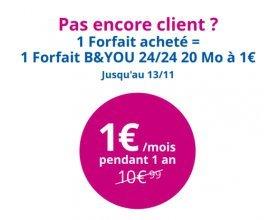 Bouygues Telecom: Nouveaux clients, 1 souscription à un forfait = 1 forfait 24/24 20Mo à 1€ / mois