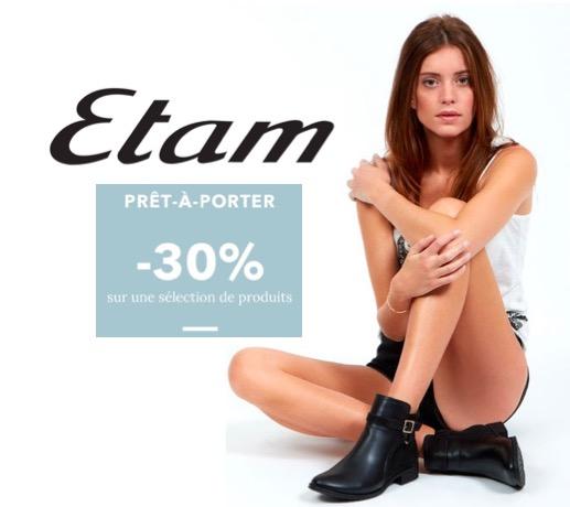 Code promo Etam : Love prices : -30% sur une sélection d'articles de prêt à porter