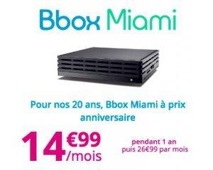 Bouygues Telecom: Abonnement internet Bbox Miami avec TV & Téléphonie à 14,99€/mois pendant 1 an