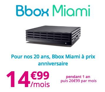 Code promo Bouygues Telecom : Abonnement internet Bbox Miami avec TV & Téléphonie à 14,99€/mois pendant 1 an