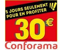 Conforama: 30€ offerts en bon d'achat par tranche de 300€ d'achat sur tout le site