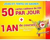 Carrefour: 1 an de courses et 50 cartes cadeaux de 20€ par jour à gagner