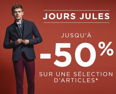 Code promo Jules : Jours Jules : Jusqu'à 50% de réduction sur une sélection d'articles