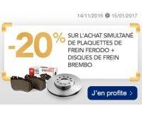 Norauto: 20% de réduction sur l'achat groupé de plaquettes et disques de frein