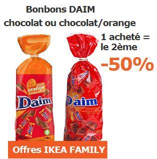 Code promo IKEA : Bonbons DAIM 1 acheté = le 2ème au choix à -50%
