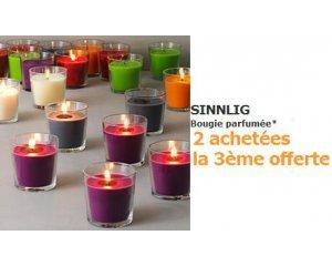 IKEA: 2 bougies parfumées SINNLIG achetées = la 3ème offerte