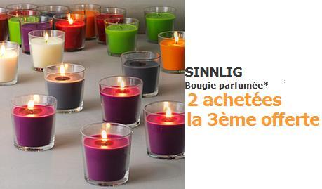 Code promo IKEA : 2 bougies parfumées SINNLIG achetées = la 3ème offerte