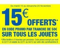 Carrefour: 15€ de bons d'achats par tranche de 50€ d'achats sur les jouets
