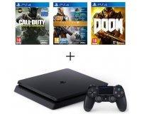 Cdiscount: PS4 Slim 500 Go + 3 Jeux : CoD Infinite Warfare + Destiny + DOOM à 299,99€