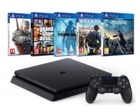 Amazon: Pack PS4 Slim + FFXV + Watch Dogs 2 + GTA V + The Witcher 3 + Tomb Raider à 350€