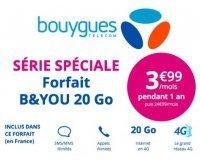 Bouygues Telecom: Forfait mobile appels, SMS, MMS illimités + 20Go d'Internet à 3,99€ / mois