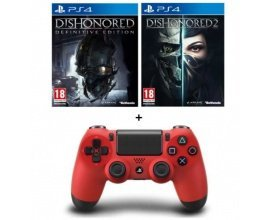 Cdiscount: Manette PS4 Rouge + Dishonored 2 + Dishonored Definitive Edition à 74,99€